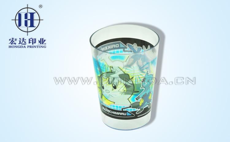塑料杯卡通图案热转印效果图