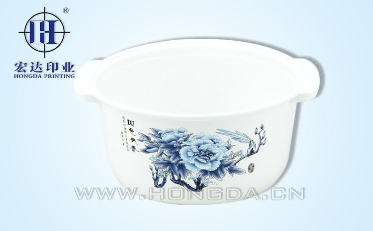 蓝色花图煲汤锅热转印效果图