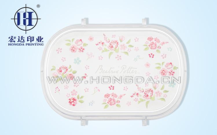梅花图饭盒盖热转印效果图
