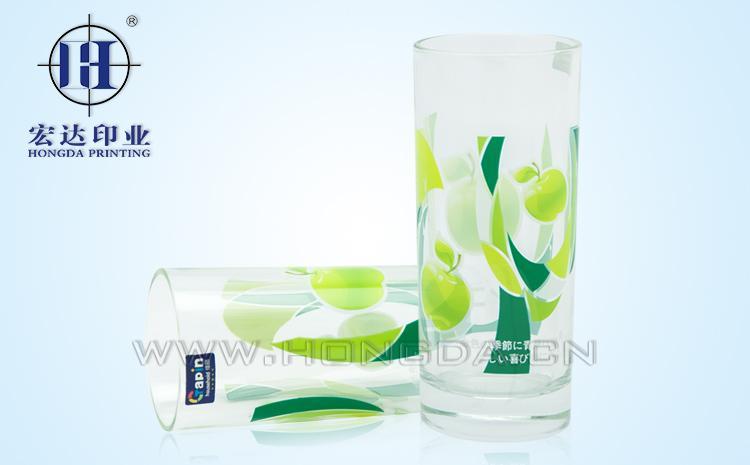 水果图案水杯玻璃热转印效果图