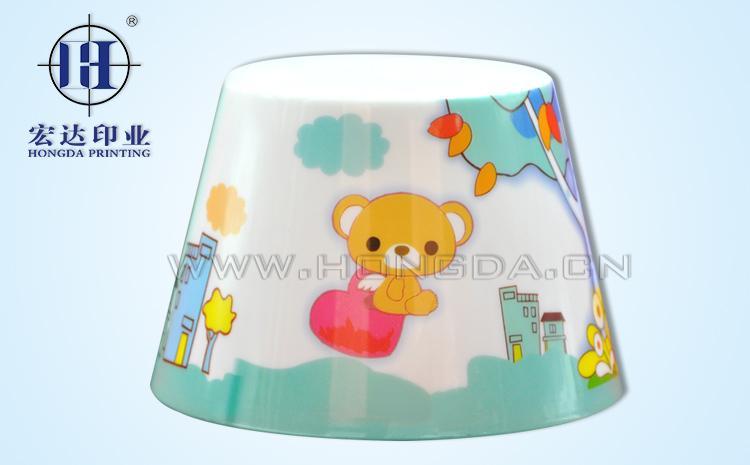 小熊卡通图案灯罩热转印效果图