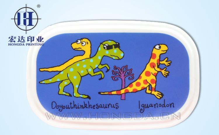 卡通恐龙饭盒盖热转印效果图