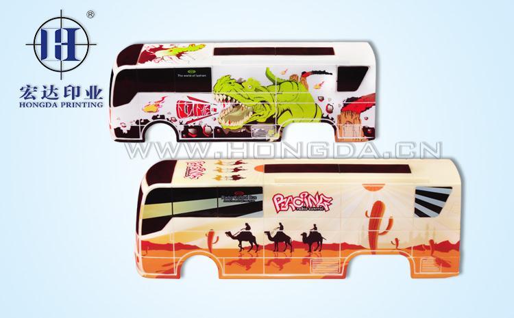玩具巴士车外壳热转印效果图