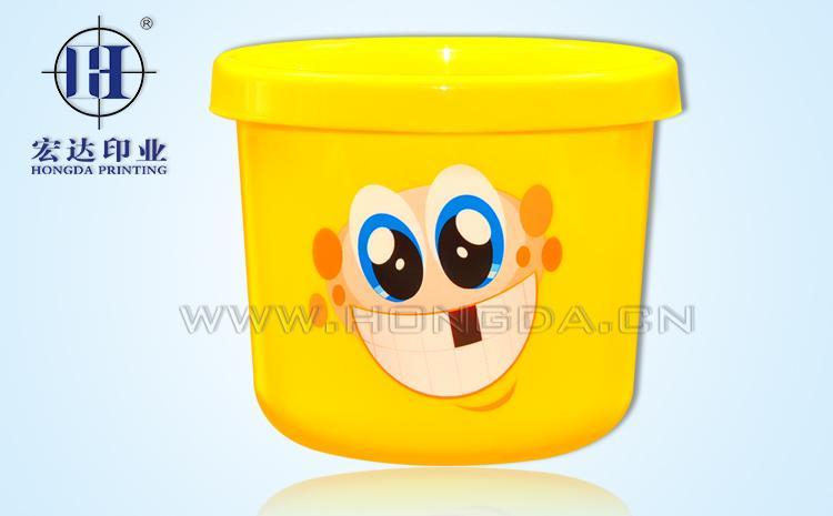 笑脸图案沙滩桶热转印效果图