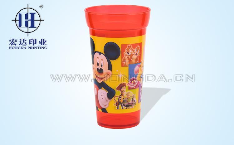 米老鼠图案红色杯子热转印效果图
