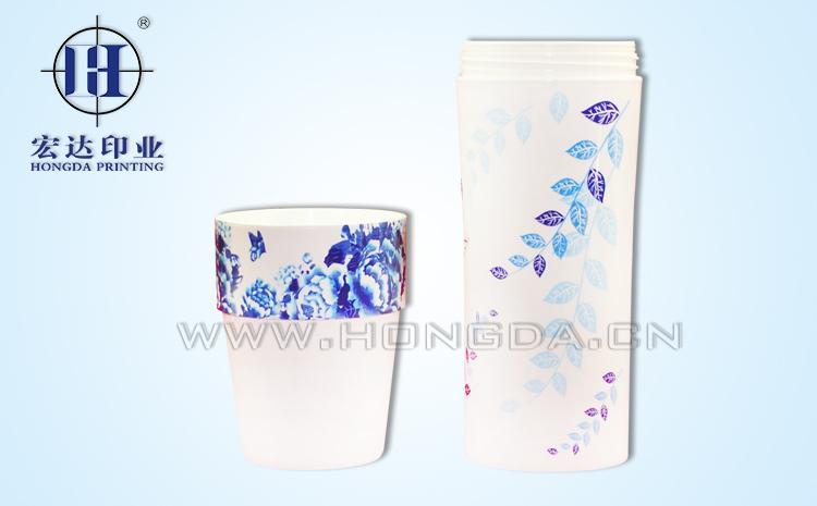青花图案杯子热转印效果图
