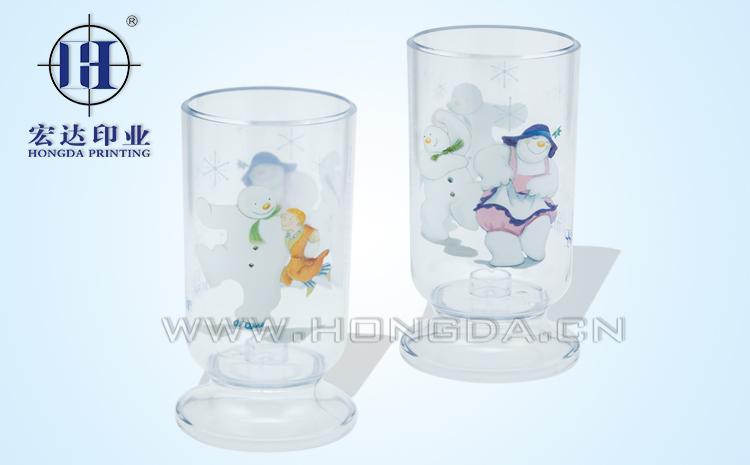 雪人图案水杯热转印效果图